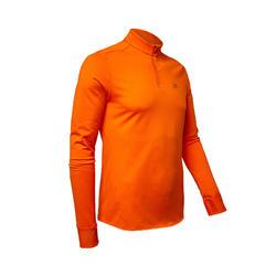 男款跑步長袖T恤RUN WARM橘紅色