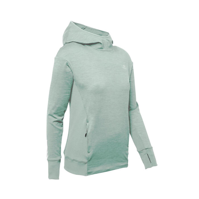 Hoodie voor hardlopen dames Run Warm grijsgroen