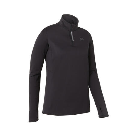 WOMEN'S RUN WARM LONG-SLEEVED JOGGING JERSEY - BLACK