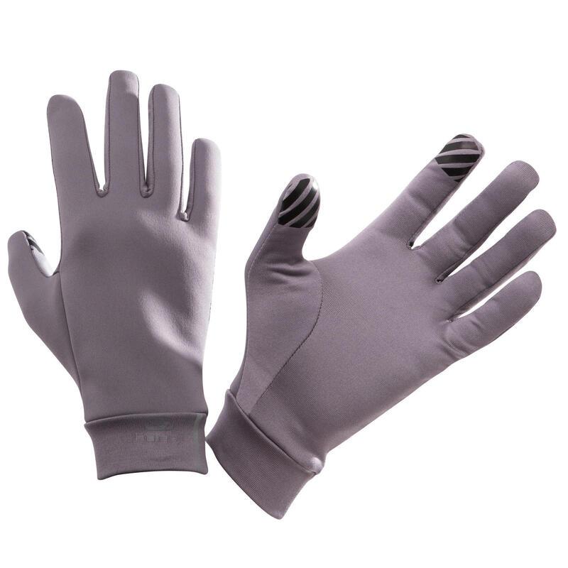 Guantes Táctiles Running Adulto Gris Púrpura
