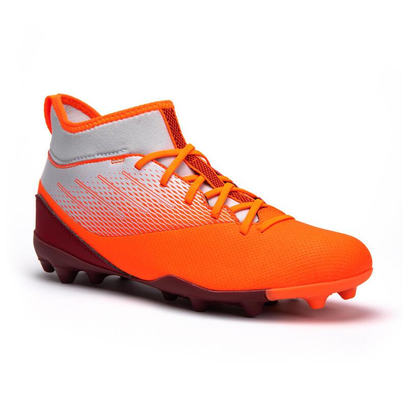 Chaussure de football enfant AGILITY 500 montante semelle MG Grise et Orange