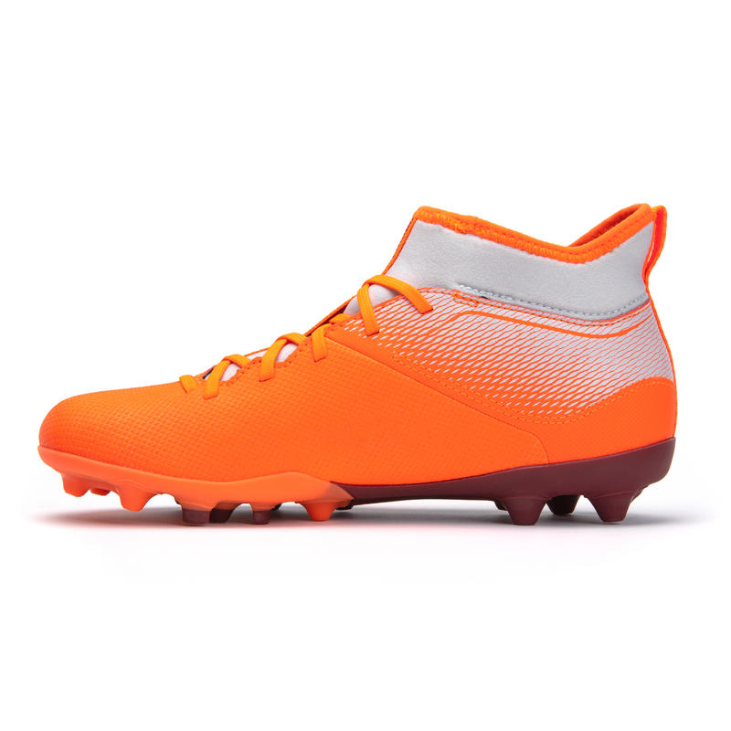 Kids' High-Top Mixed Ground Football Boots Agility 500 - Grey/Orange