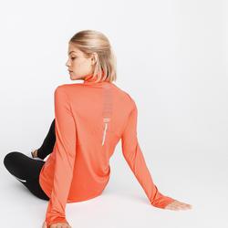 Hardloopshirt met lange mouwen voor dames Run Dry + met rits terracotta