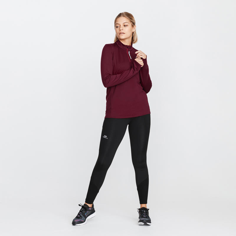 ZIP RUN WARM WOMEN'S LONG-SLEEVED RUNNING T-SHIRT DARK BURGUNDY