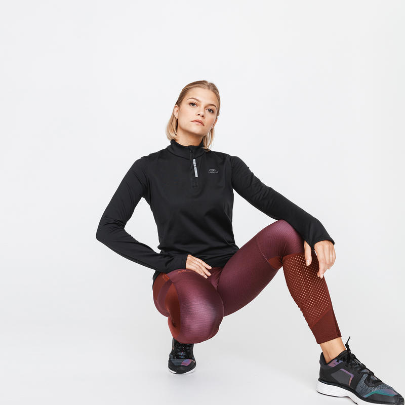ZIP RUN WARM WOMEN'S LONG-SLEEVED RUNNING T-SHIRT - BLACK