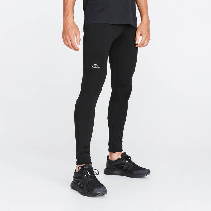 PÁNSKÉ HŘEJIVÉ OBLEČENÍ NA JOGGING Běh - LEGÍNY RUN WARM ČERNÉ KALENJI - Běžecké oblečení