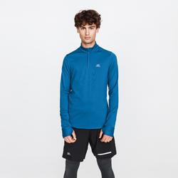 男款長袖跑步T恤RUN WARM - 深藍色