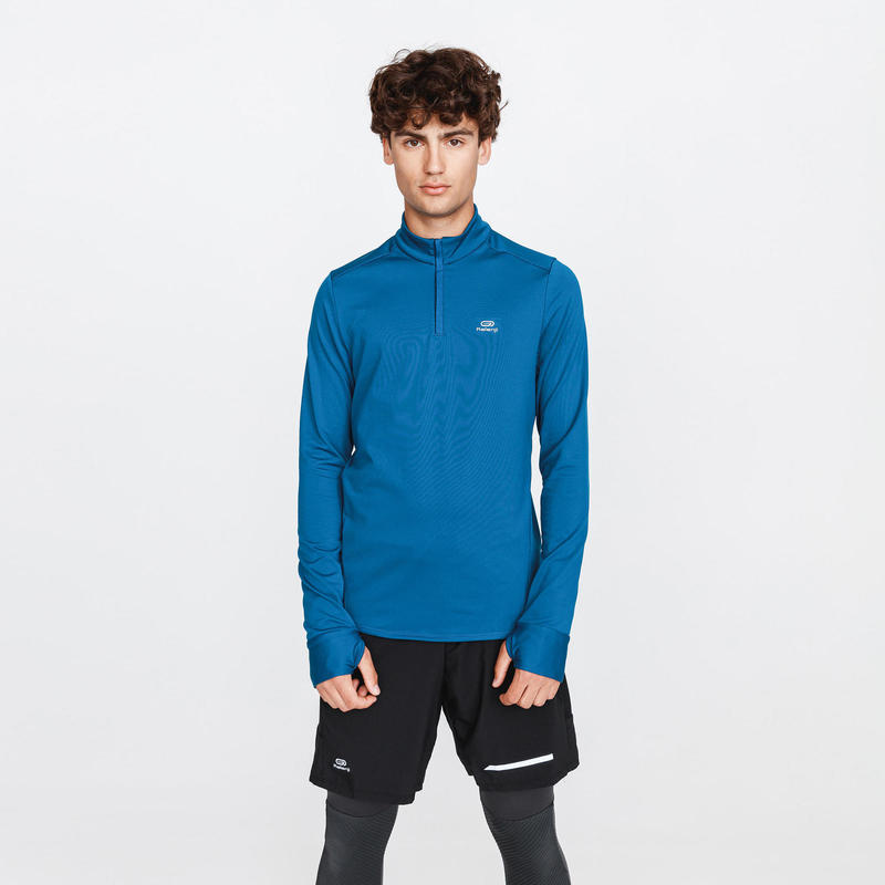 Hardloopshirt met lange mouwen voor heren Run Warm donkerblauw