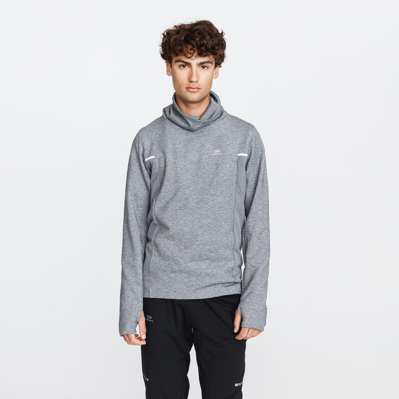 Sweater voor hardlopen heren Run Warm+ leigrijs