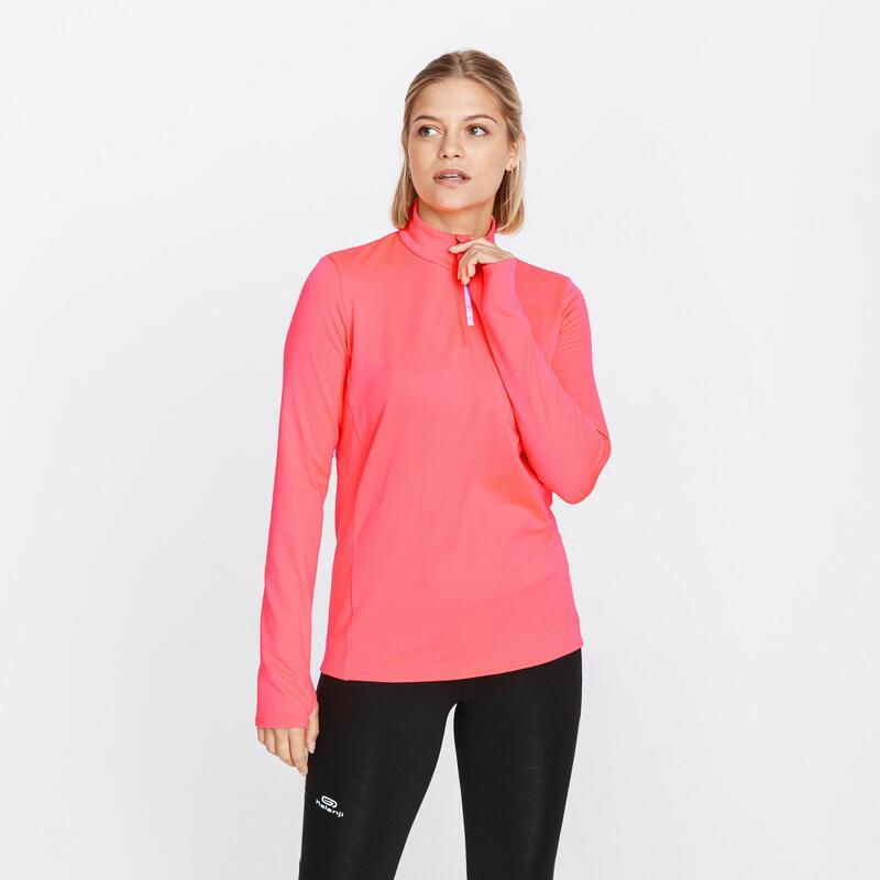 Camiseta Running Run Warm Mujer Rosa Manga Larga Media Cremallera