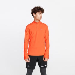 Hardloopshirt met lange mouwen voor heren Run Warm oranjerood