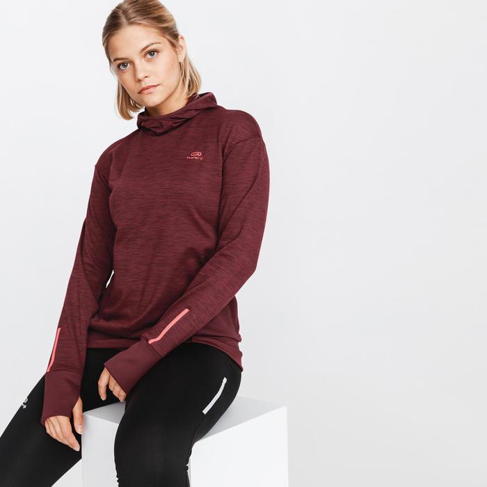 Hoodie voor hardlopen dames Run Warm donker bordeaux
