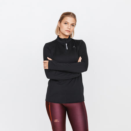 ZIP RUN WARM WOMEN'S LONG-SLEEVED RUNNING T-SHIRT - BLACK