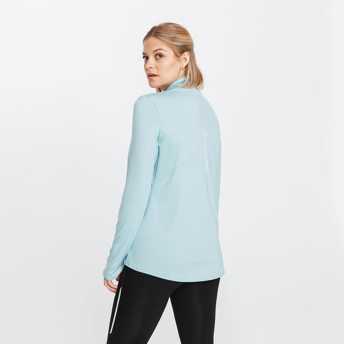 TEE SHIRT MANCHES LONGUES ZIP RUNNING RUN DRY + TURQUOISE GIVRE FEMME