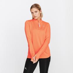 女款跑步拉鍊長袖T恤RUN珊瑚紅