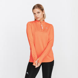 TEE SHIRT MANCHES LONGUES ZIP RUNNING RUN WARM CORAIL FEMME