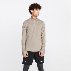 Hardloopshirt met lange mouwen voor heren Run Warm bleekbruin