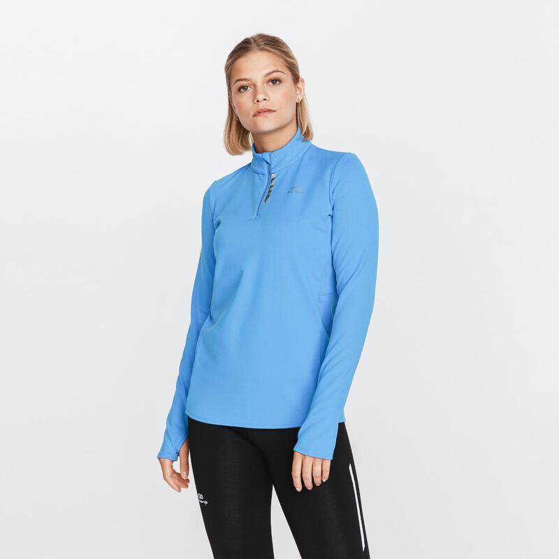 Hardloopshirt met lange mouwen voor dames Run Warm met rits korenbloemblauw