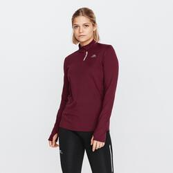 女款跑步拉鍊長袖T恤RUN WARM深酒紅色