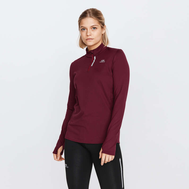 DÁMSKÉ HŘEJIVÉ OBLEČENÍ NA JOGGING Běh - TRIČKO RUN WARM VÍNOVÉ  KALENJI - Běžecké oblečení