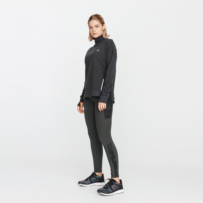 女款保暖跑步緊身褲Run Warm + - 深卡其