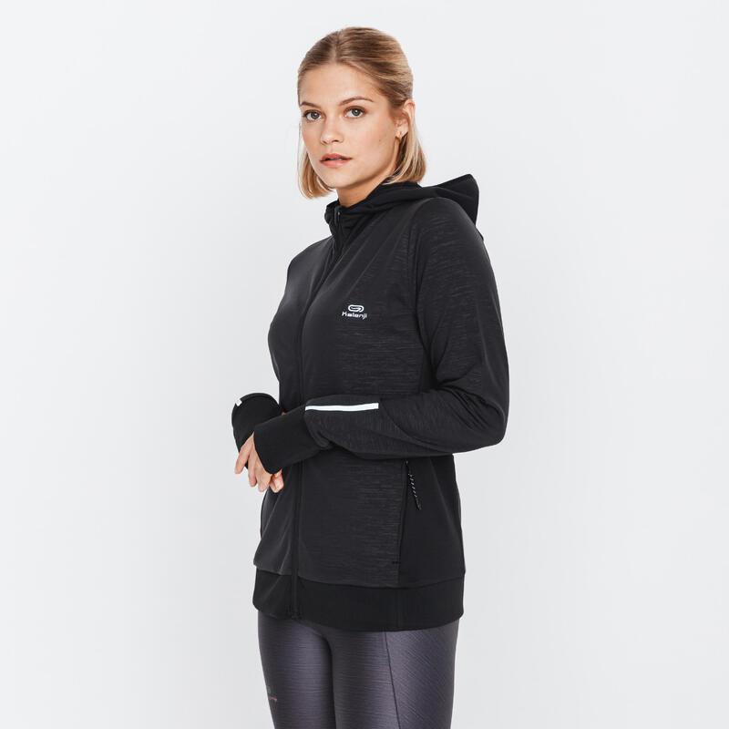 Women's Running Hoodie Run Warm - black
