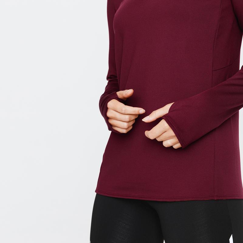 ZIP RUN WARM WOMEN'S LONG-SLEEVED RUNNING T-SHIRT DARK BURGUNDY