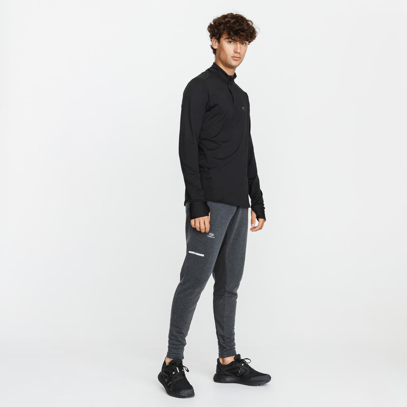 RUN WARM MEN'S LONG-SLEEVED RUNNING T-SHIRT BLACK