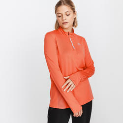 TEE SHIRT MANCHES LONGUES ZIP RUNNING RUN DRY + TERRACOTTA FEMME