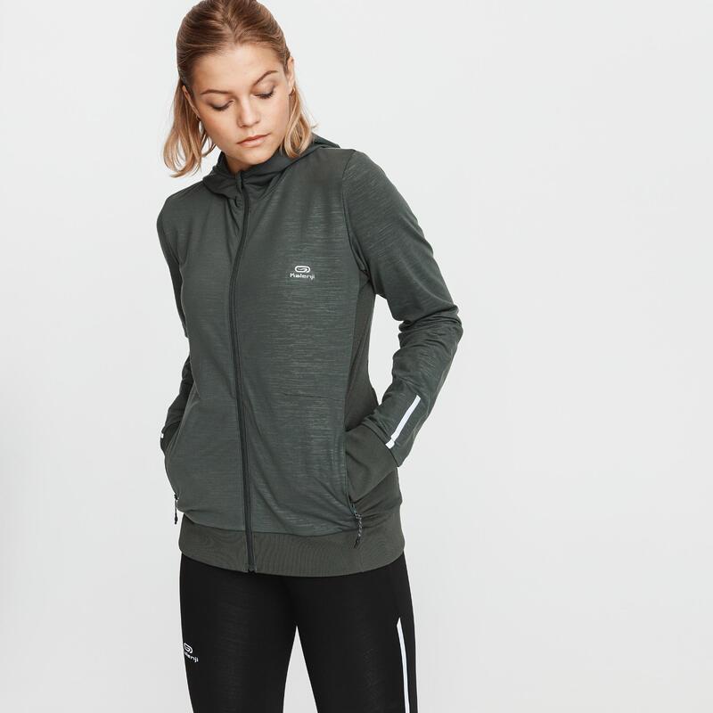 Run Warm Women's Running Hooded Jacket - Dark Khaki