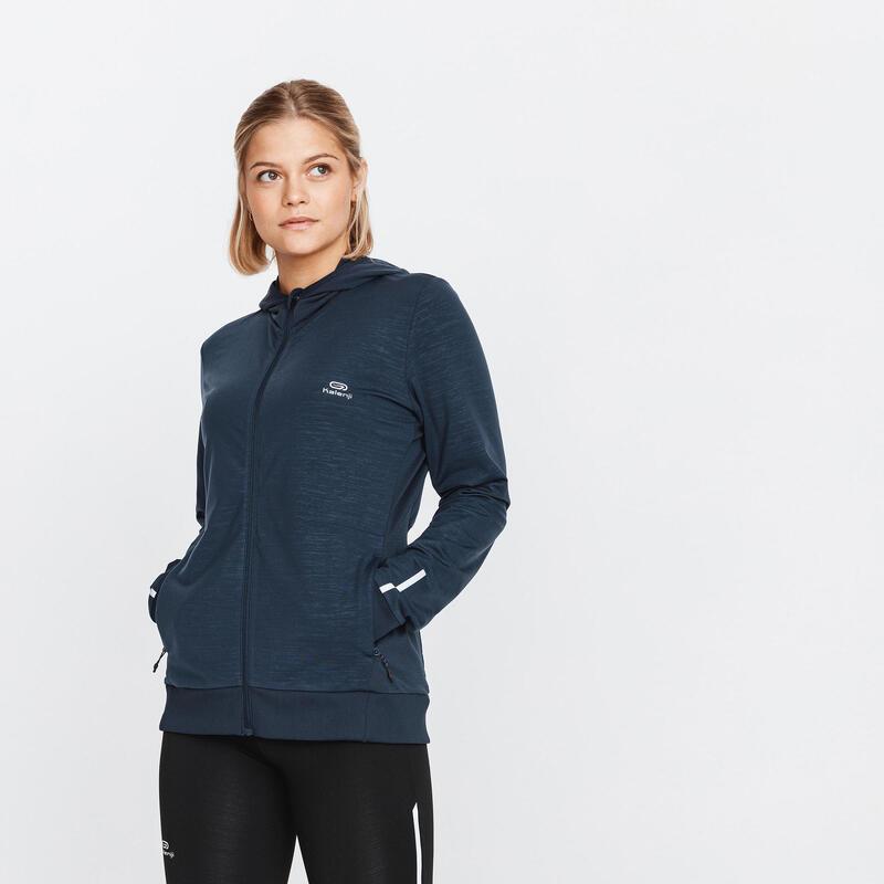 Run Warm Women's Running Hooded Jacket - Abyss Grey
