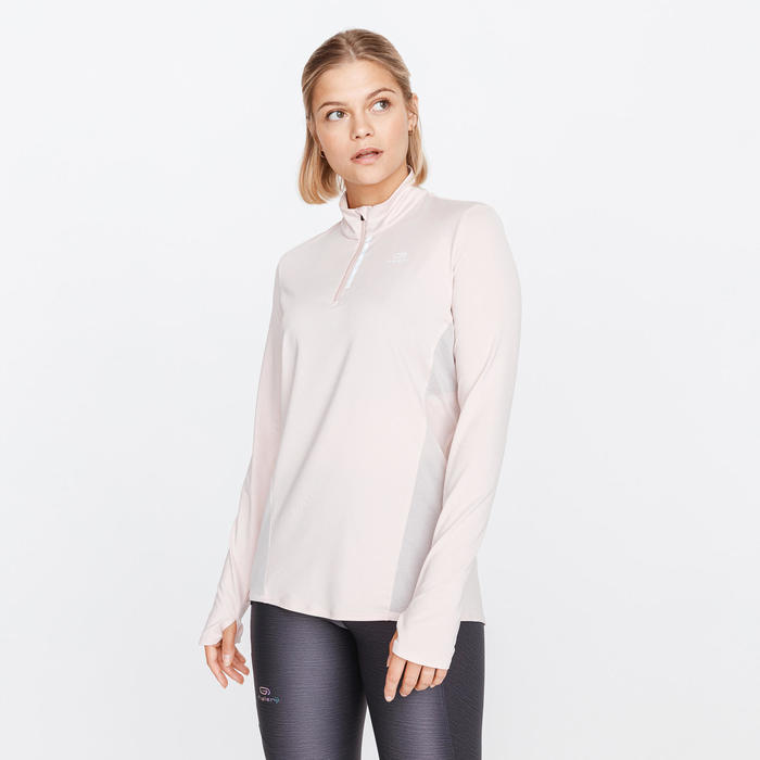 Run Dry + Women's Running Long-Sleeved Zip Tee-Shirt - Quartz Pink