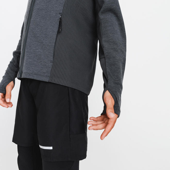 VESTE RUNNING RUN WARM + GRIS HOMME
