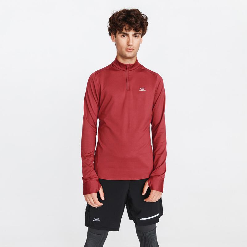 Pánské běžecké tričko s dlouhým rukávem Run Warm vínové