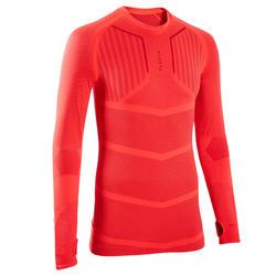 Ondershirt met lange mouwen voor voetbal heren Keepdry 500 fel rood