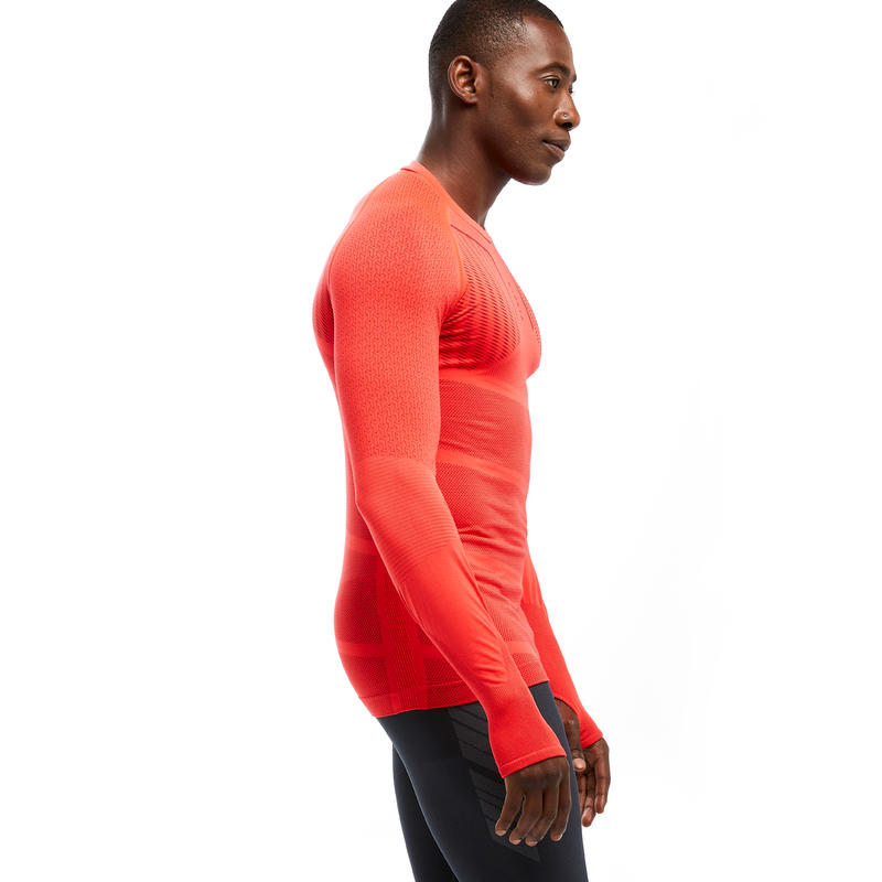 Men's Long-Sleeved Football Base Layer Top Keepdry 500 - Bright Red