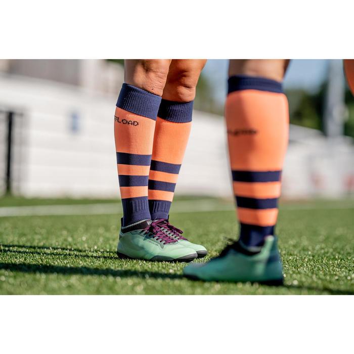 Rugbysokken voor dames R500 koraal/marineblauw
