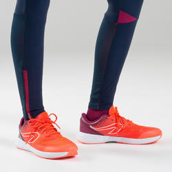 Girls' Athletics Tights AT 500 - navy blue and purple
