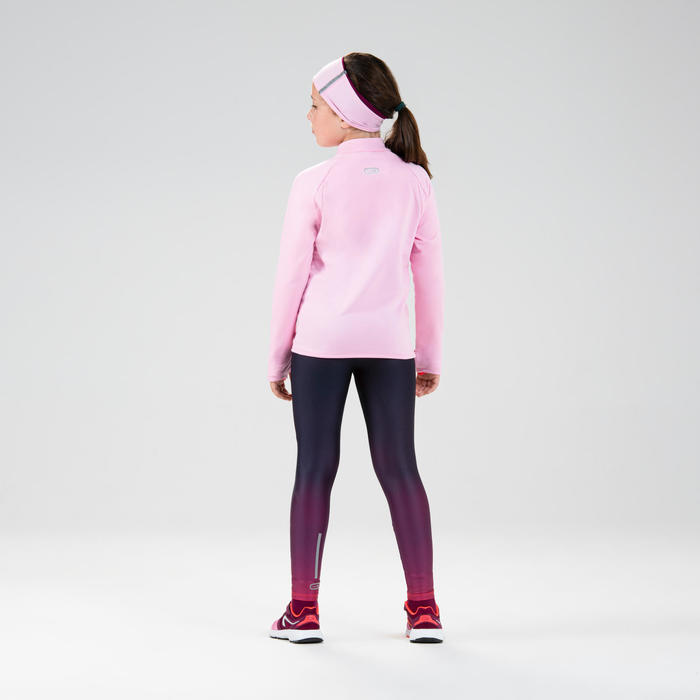 兒童款保暖田徑半開運動衫AT 100 - 藍粉配色