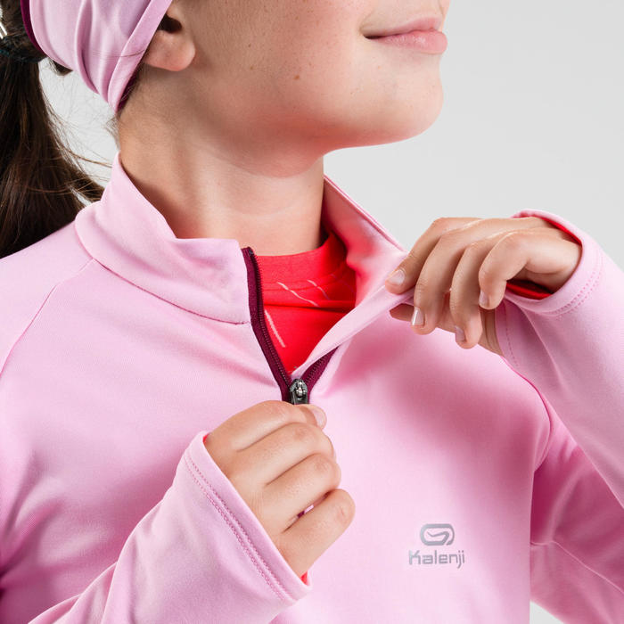 Maillot manches longues chaud 1/2 zip enfant d'athlétisme AT 100 bleu rose