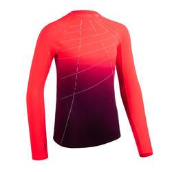 maillot manches longues d'athlétisme pour fille AT 500 skincare corail fluo