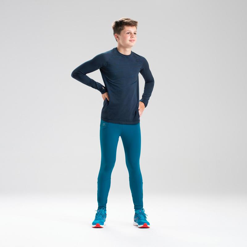 Maillot manches longues enfant d'athlétisme AT 500 Skincare bleu marine