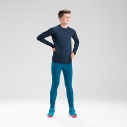 Atletiekshirt met lange mouwen voor kinderen AT500 Skincare marineblauw
