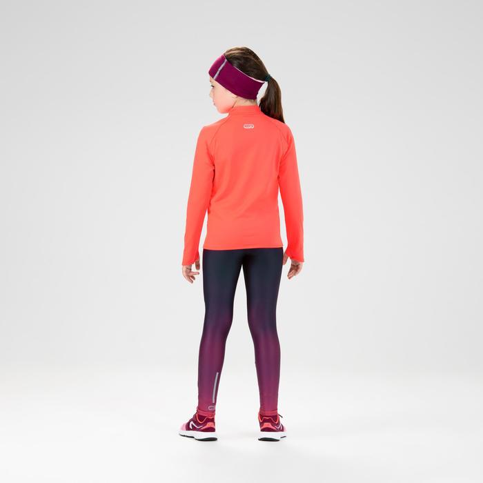 Maillot manches longues chaud 1/2 zip enfant d'athlétisme AT 100 corail fluo