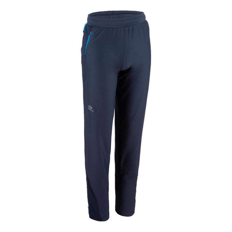Pantalon enfant d'athlétisme pour temps froid AT 500 bleu marine bleu turquoise