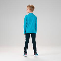 兒童款保暖田徑半開式拉鍊長袖運動衫AT 100 - 青藍色