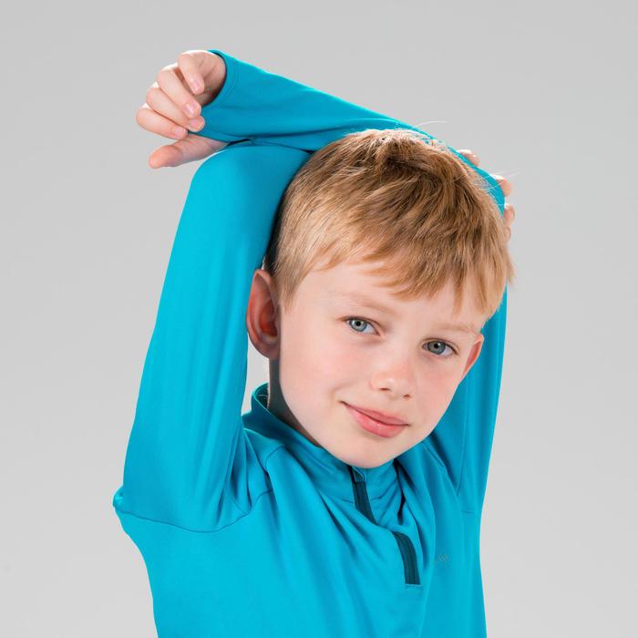 Maillot manches longues chaud 1/2 zip enfant d'athlétisme AT 100 bleu cyan