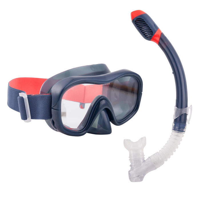 Adult's diving snorkelling Mask and Snorkel kit SNK 520 - Dry Black