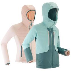 Meisjes ski jas waterdicht   3 in 1 jas kind   Warm   900   Roze / Groen
