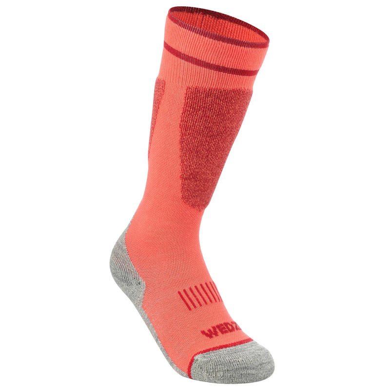 CHILDREN'S SKI SOCKS 100 - CORAL